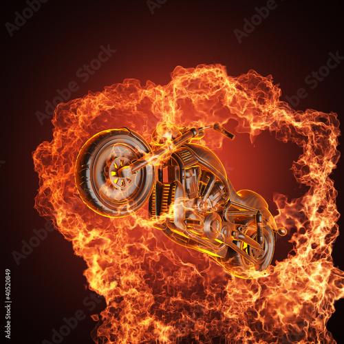 Poster Motocyclette chopper bike in fire