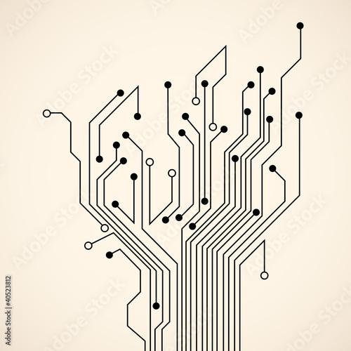Fotografie, Obraz  Abstract circuit tree