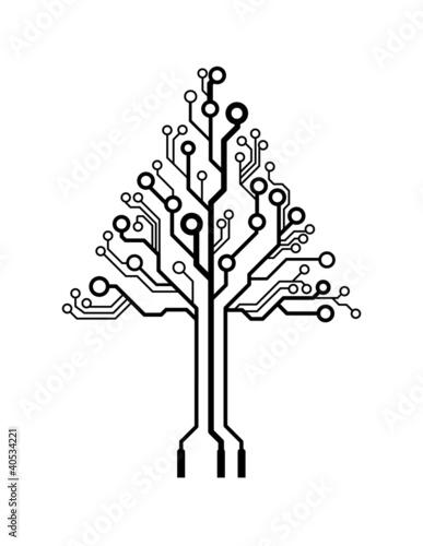 drzewo-choinka-z-obwodow-na-bialym-tle