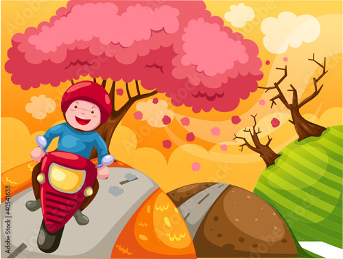 Tuinposter Motorfiets landscape cartoon boy riding motorcycle