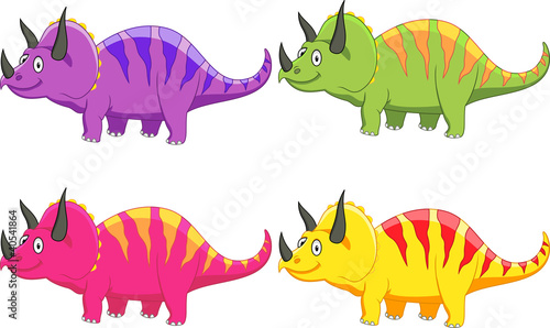 Photo sur Aluminium Dinosaurs Triceratops cartoon