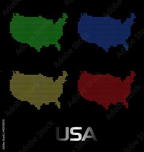 Photo sur Toile Pixel Usa digital map
