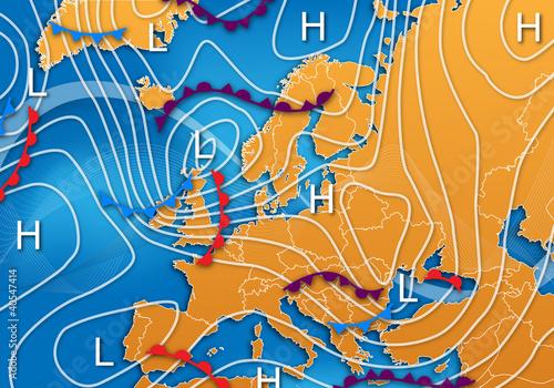 Fotomural European Vector Weather Map