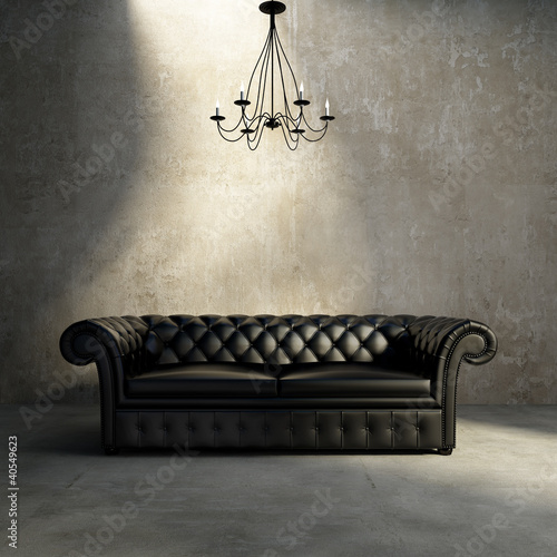 Staande foto Retro Vintage antique tufted modern classic black sofa, grunge wall