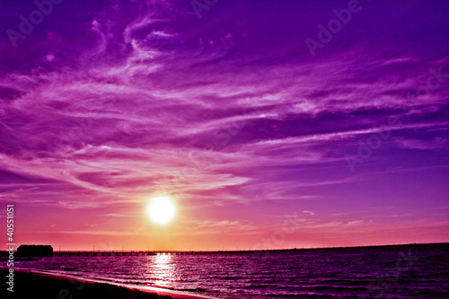 Spoed Foto op Canvas Violet Busselton Jetty sunset