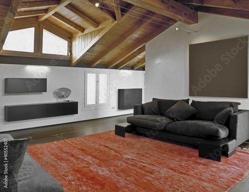 Tappeti Soggiorno Moderno : Soggiorno moderno in mansarda e tappeto rosso buy this stock