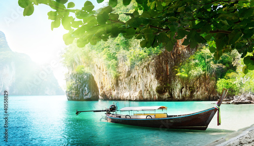 Foto-Plissee - long boat on island in Thailand
