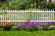 Leinwandbild Motiv White picket fence surrounded by garden flowers in yard