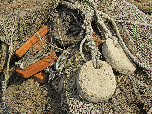Keuken foto achterwand Schip old fishing nets closeup