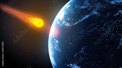 Foto Asteroid hiting Earth