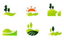 Rolling Hills Icons Isolated O...