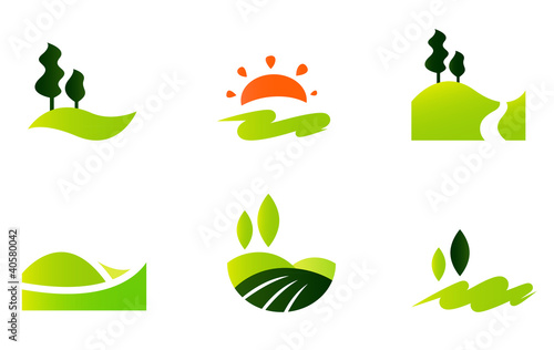 Fotografia Rolling hills icons isolated on white