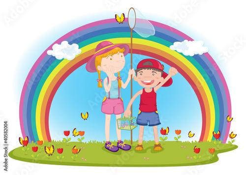 Foto op Canvas Regenboog kids in garden