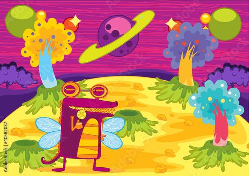Foto op Canvas Schepselen Cartoon illustration