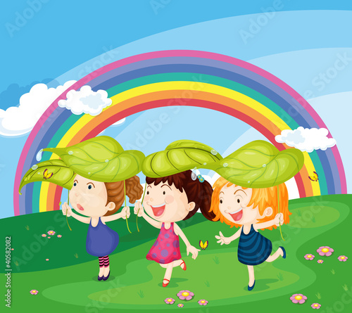 In de dag Regenboog kids with rainbow