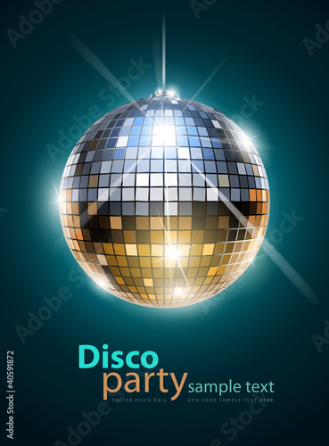 Spoed Foto op Canvas Bol mirror disco ball vector illustration EPS10. Transparent