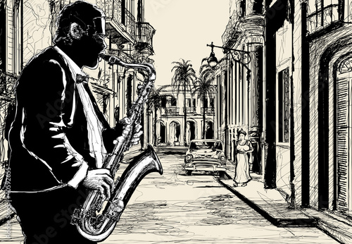 Spoed Foto op Canvas Muziekband saxophonist in a street of Cuba
