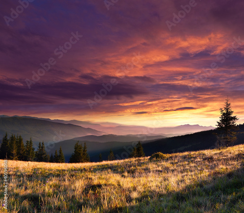 Summer landscape in the mountains with dramatic sky.