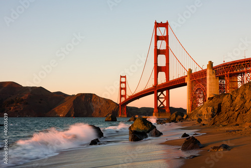 Golden Gate Bridge in San Francisco at sunset Wallpaper Mural