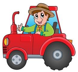 Crtani farmer na traktoru