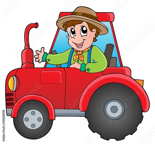 Photo sur Aluminium Ferme Cartoon farmer on tractor