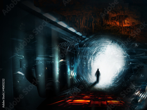 Naklejka premium chodzący mężczyzna na fantazyjnym krajobrazie przestrzeni