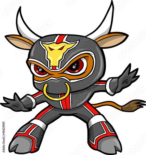 Door stickers Cartoon draw Bull Ninja Warrior Vector