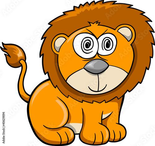 Printed kitchen splashbacks Cats Cute Crazy Safari Lion Vector Illustration