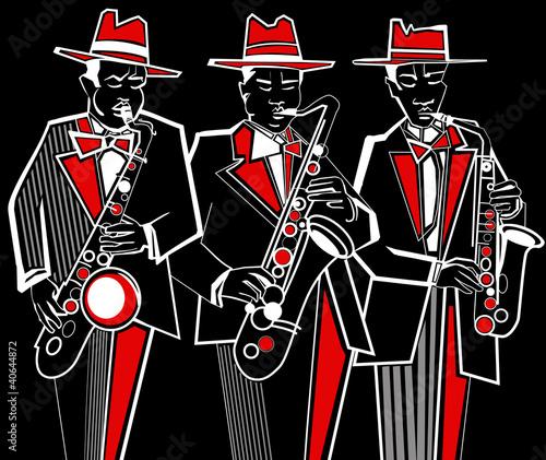 Staande foto Muziekband saxophonists
