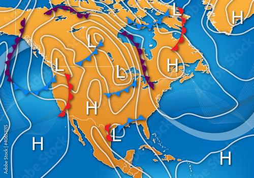 Cuadros en Lienzo Weather Map of North America