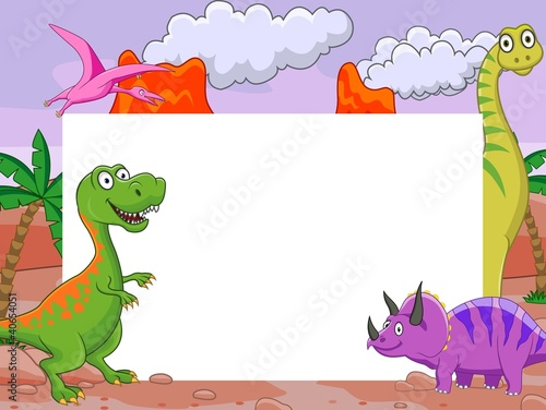 Canvas Prints Dinosaurs Dinosaur cartoon with blank sign