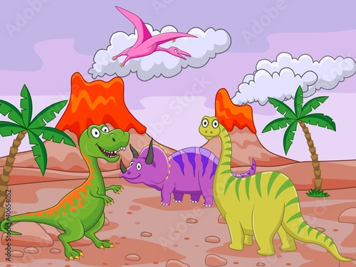 Photo sur Aluminium Dinosaurs Dinosaur cartoon