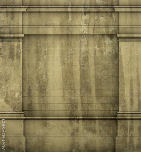3d antique classic architecture Greek Roman wall grunge render Canvas Print