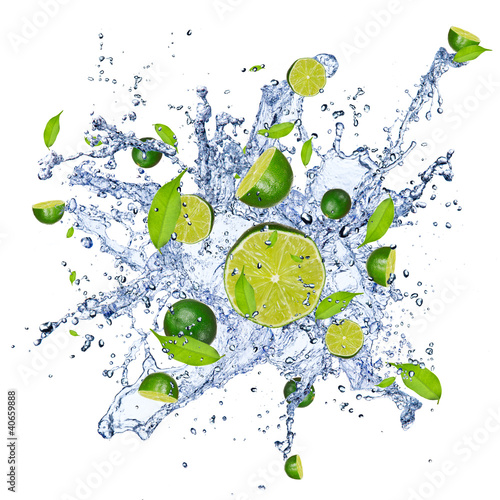 Foto op Canvas Opspattend water Limes pieces in water splash, isolated on white background