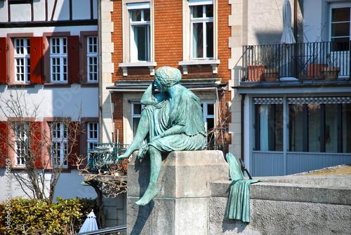 Fotografie, Obraz  Sitting Helvetia Statue in Basel, Switzerland