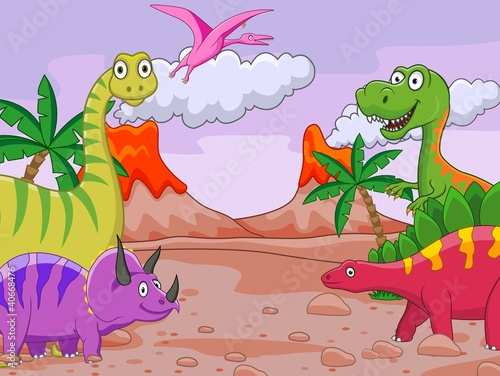 Spoed Foto op Canvas Dinosaurs Dinosaur cartoon