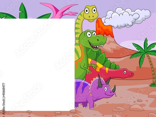 Ingelijste posters Dinosaurs Dinosaur cartoon with blank sign