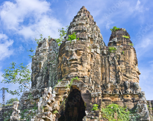 Foto op Canvas Entrance in Angkor Area on Blue Sky Background, Cambodia