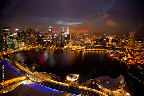 Photo  A view of Singapore from roof Marina Bay Hotel