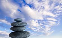 Balancing Zen Stones And Blue Sky