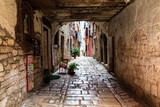 Narrow Archway in the City of Rovinj, Croatia
