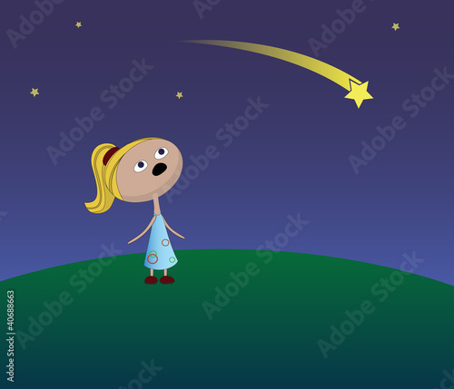 Foto op Canvas Kosmos Girl and a falling star