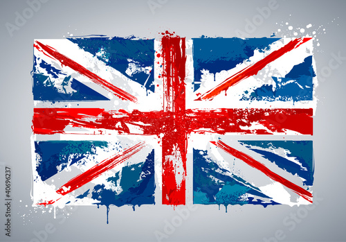 Cuadros en Lienzo Grunge UK national flag
