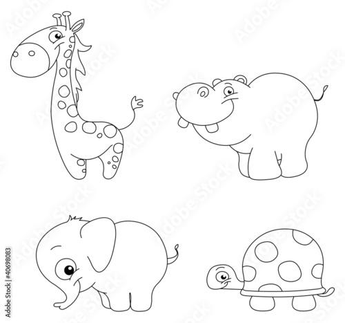 przedstawione-urocze-zwierzeta-zyrafa-hipopotam-slon-zolw