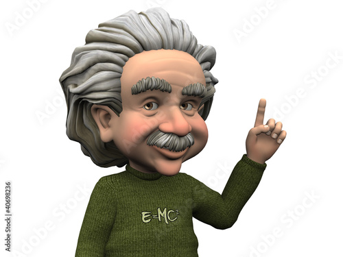Cartoon Albert Einstein having an idea. Poster