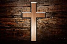 Cross On Wood Background