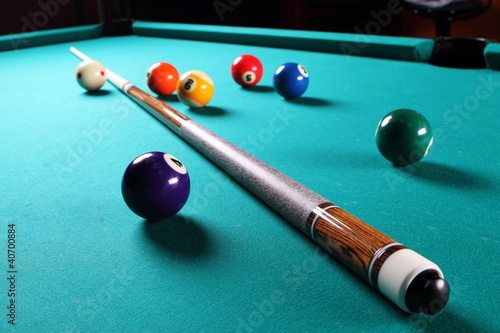 Fotografie, Tablou  Billiard table with balls. Close-up.