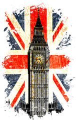 Naklejka drapeau anglais big ben vertical