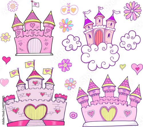 super-cute-zamek-wektor-zestaw-ilustracji