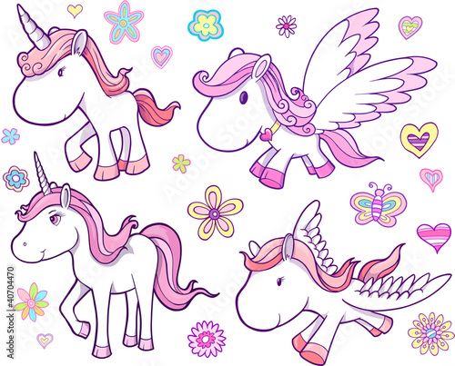 Door stickers Cartoon draw Unicorn and Pegasus Vector Set